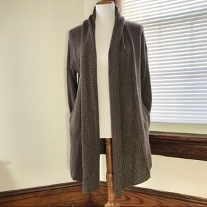Eileen Fisher Brown Wool Open Front Cardigan SMALL
